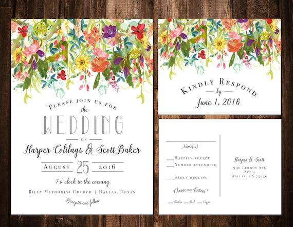 Bright Wedding Invitations: Wildflower Wedding Invitations Bright Wildflower Wedding