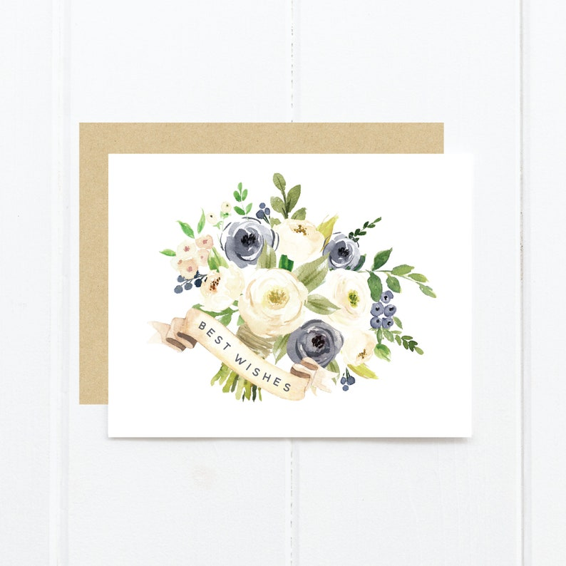 Best Wishes Greeting Card Newlyweds | Watercolor Bouquet Wedding Congratulations Card Newlywed Greeting Card