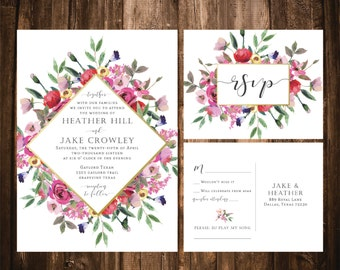 Bright Floral Wedding Invitations; Watercolor; Wildflower; Printable OR set of 25