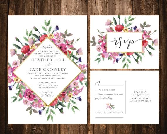 Bright Wedding Invitations: Bright Floral Wedding Invitations Watercolor Wildflower
