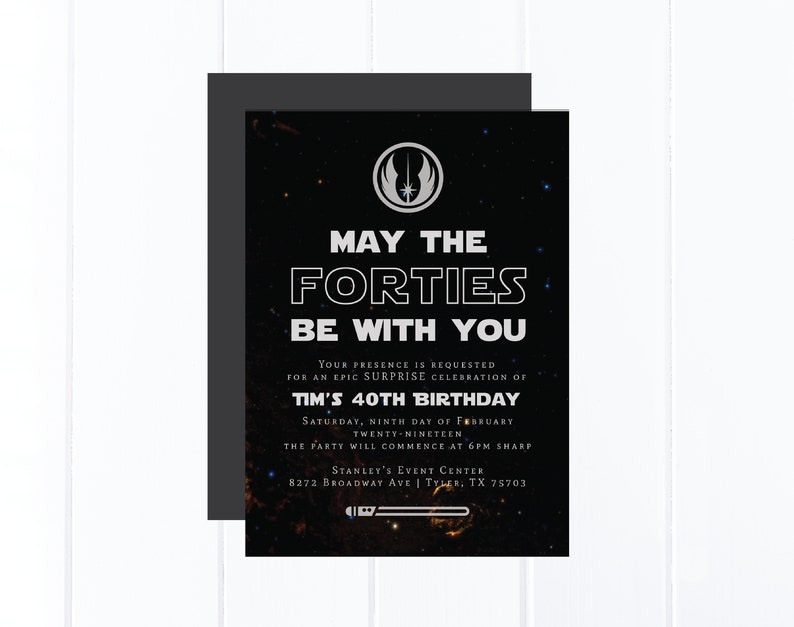 Star Wars Birthday Invitation 40th May