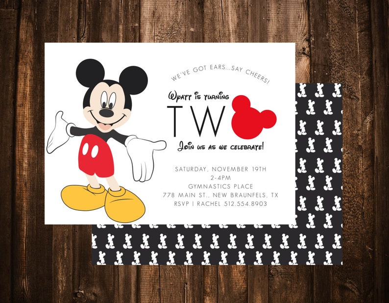 Mickey Mouse Birthday Invitation Oh Twodles