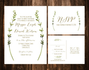 Watercolor Foliage Wedding Invitations; Green and White; Olive; Printable OR set of 25