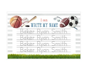 11x17 Name Tracing Laminated Placemat   NonToxic   Personalized   Custom    Sports   Educational   United States
