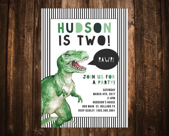 Dinosaur Birthday Invitation T Rex