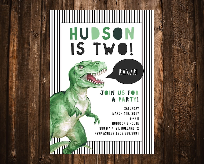 Dinosaur Birthday Invitation T Rex
