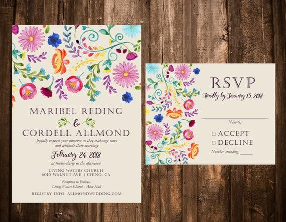 Wedding Invitations Spanish: Mexican Wedding Invitation Spanish Floral Wedding