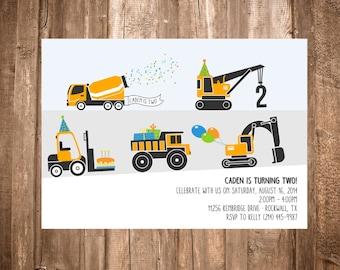 Construction Trucks Birthday Invitation; Printable or set of 10