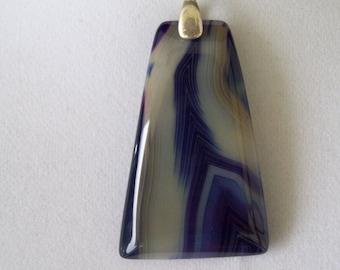 Purple-Blue Agate Stone Pendant