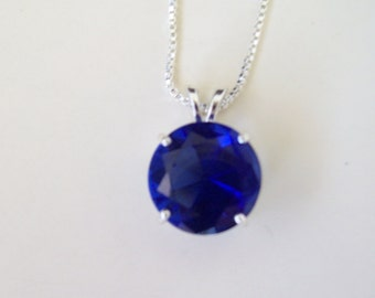Lab Created Tanzanite Pendant in Sterling Silver 15mm round