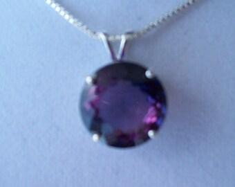 Purple Alexandrite Pendant in Sterling Silver 14mm Round