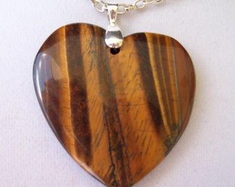 """Tiger's Eye Heart pendant with chain 1-3/4"""" long"""