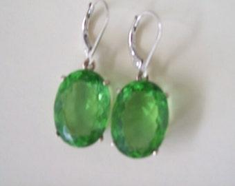 Sterling Silver Earrings - Sweet Spring Apple Green