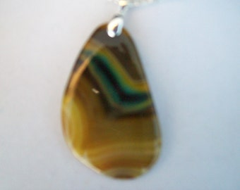 Yellow Striped Agate Pendant with chain