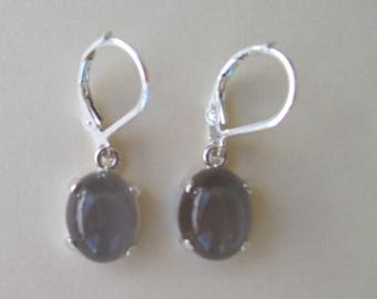 PERFECT SIZE - Genuine Luminous Gray Moonstone Dangle Earrings in 925 Sterling Silver 12x10mm