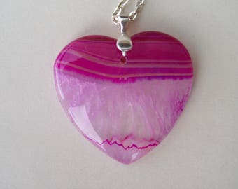 "Pink Geode Agate Heart Pendant 1-3/4"" long"