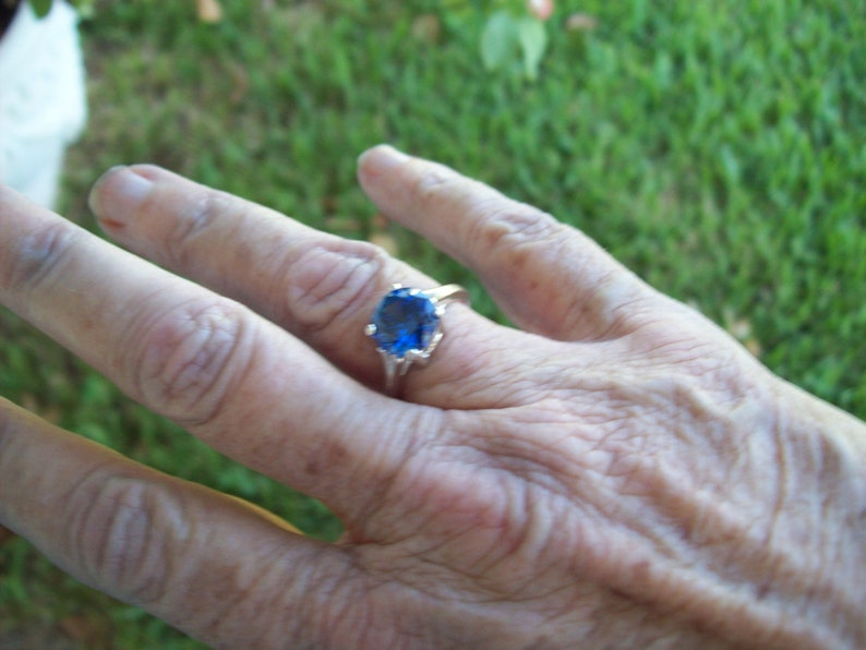 Lab Blue Tanzanite Ring in Sterling Silver 9mm round size 7