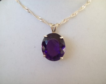 Oval Created Amethyst Pendant in Sterling Silver