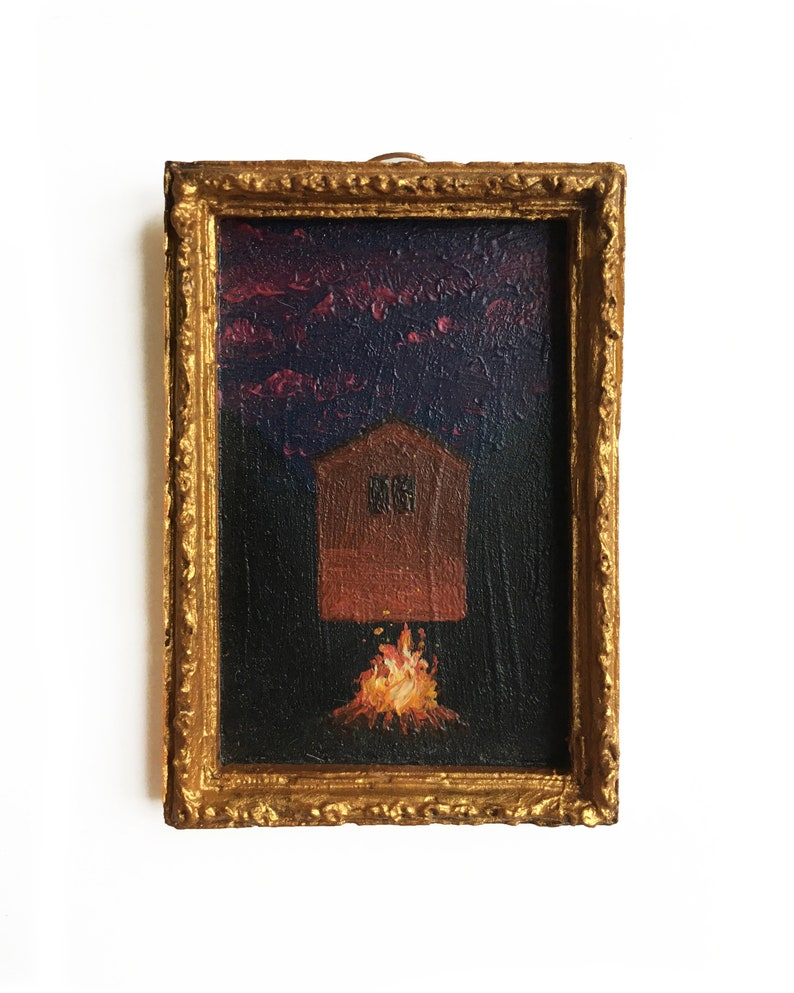 Tree Original painting Miniature Oil Painting bonefire at night in the woods Cabin