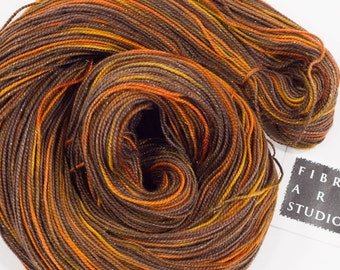 Hand Dyed Sparkle Sock Yarn | Variegated Hand Dyed Yarn in Brown, Orange and Gold with Silver Glitter | SW Merino, Nylon, Stellina