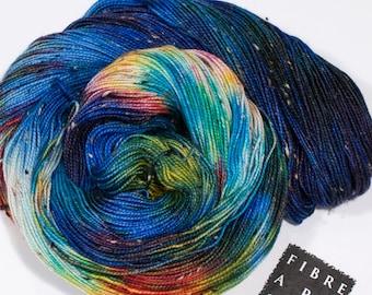 Hand Dyed Yarn | Fingering 100g 438 yd | Variegated Donegal Tweed Yarn in Blue + Rainbow Colors | Superwash Merino Wool Nylon | Blue Galaxy