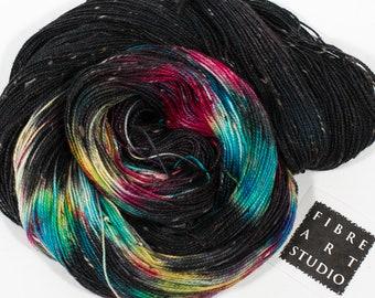 Donegal>> Fingering 100g 438 yd | Variegated Tweed Yarn in Black + Rainbow Colors | Superwash Merino Wool  Nylon | Galaxy Andromeda