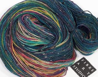 Donegal>> Fingering 100g 438 yd | Variegated Tweed Yarn Navy + Rainbow Colors | Superwash Merino Wool  Nylon | Galaxy And the Winner Is...
