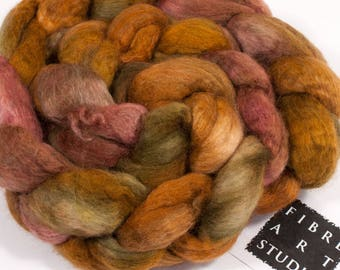 Hand Dyed Roving | BFL Wool Silk Combed Top in Gold, Red and Green | BFL Silk Roving for Spinning and Felting | 100 grams | Indian Summer