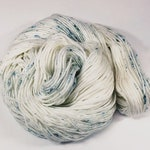 SW Merino Worsted Weight 100g 220 yd | Hand Dyed Speckled Yarn | White with Blue Green Speckles | 100% Superwash Merino Wool | Morning Mist