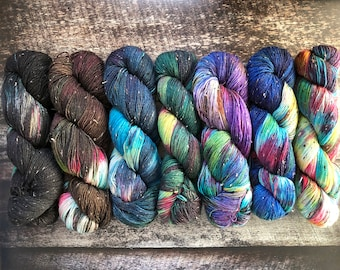 Galaxy Collection Full Skein Set | Fingering 7 Skeins 100g 438 yd Each | Total 700g 3,066 yd  | Fade Set | SW Merino Wool Nylon | Donegal