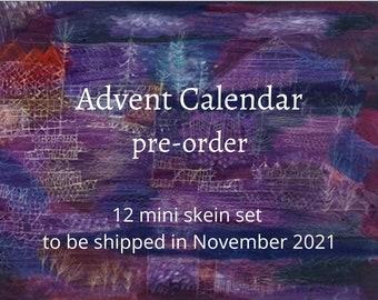 Advent Calendar pre-order > Shipped in November 2021 > 12 Mini Skein Hand Dyed Yarn Advent Calendar Half Set > 20g x 12 >> GIft for Knitters