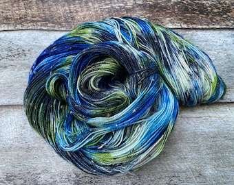 Donegal>> Fingering 100g 438 yd | Variegated Yarn Navy Blue Green | Superwash Merino Wool  Nylon | Earth Day Collection - Mother Earth