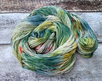 Donegal>> Fingering 100g 438 yd | Variegated Yarn in Yellow Green with Red | Superwash Merino Nylon | Earth Day Collection - Spring Meadow