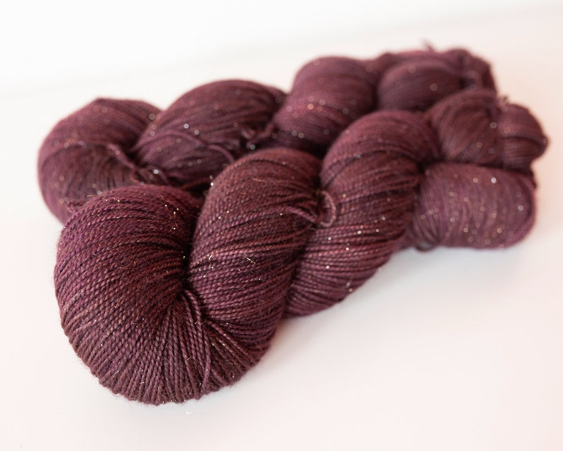 Hand Dyed Sparkle Yarn    Fingering 100g 438yds  Semi Solid image 0