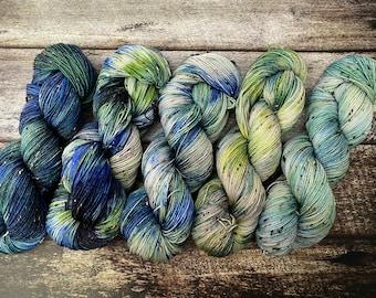 Earth Day Collection Full Skein / Mini Skein Set | Fingering 5 Skeins | Fade Set in Blue Green Yellow | SW Merino Wool Nylon