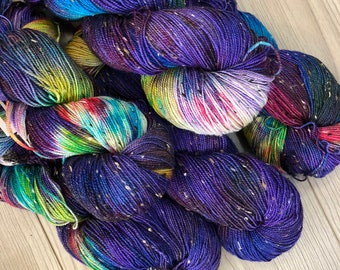 Hand Dyed Yarn | Fingering 100g 438 yd | Donegal Yarn Purple + Rainbow Colors | Superwash Merino Wool  Nylon | Galaxy Collection Supernova