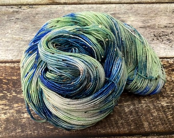 Donegal>> Fingering 100g 438 yd | Variegated Yarn Blue Green | Superwash Merino Wool  Nylon | Earth Day Collection - Tidal Pond