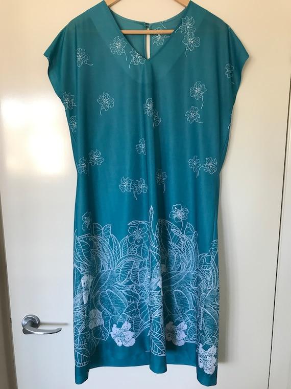 Vintage 70s Teal Green Floral Summer Shift Dress