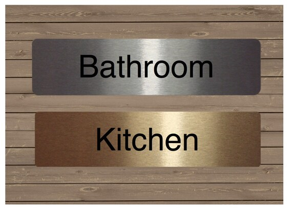 Office /& Many More ROOM DOOR SIGNS in Brushed Silver Kitchen Gold or White Metal for the Bathroom