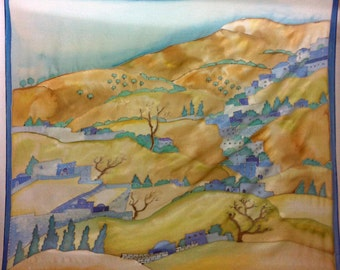 "Silk scarf Hand painted ""Israel"""