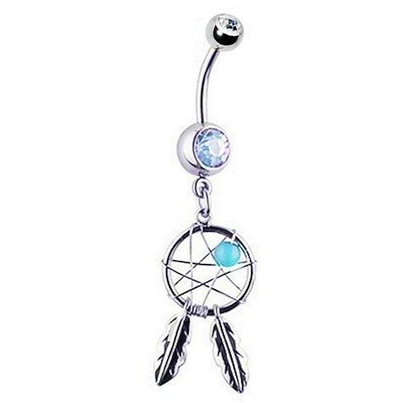 """316L Surgical Steel Navel Belly Button Ring 7//16/"""" Colorful Dream Catcher 14G"""