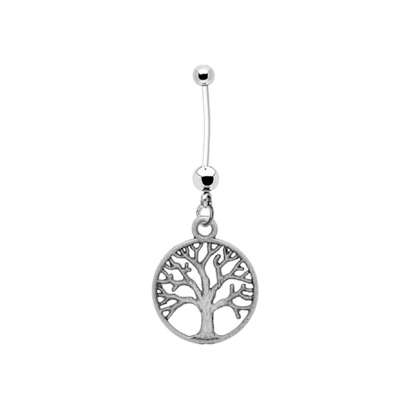 Pregnancy Belly Button Ring Antiqued Silvertone TREE OF LIFE 14g BioFlex and Stainless Steel Navel Piercing Maternity Body Jewelry