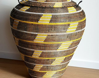 Silver Grey Master Piece Laundry Basket African Hand Woven