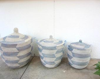 Sky Blue and White Laundry Basket, Lidded Laundry Hamper, Wide Top, Storage Bin, African Basket,Handwoven basket
