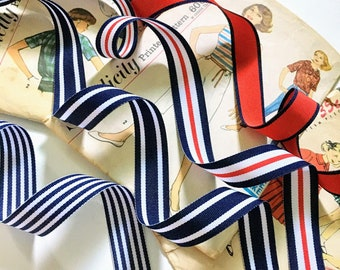 """Navy and White Nautical Ribbon, Red, Navy Blue and White Striped Ribbon, 7/8"""" inch Nautical Grosgrain Collection"""