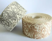 """Vintage Map Ribbon, Natural Ivory Canvas Antique Globe Printed Ribbon 2"""" inch width"""
