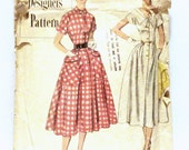 1950s Simplicity Designer's Pattern 8260 Misses 1950s Vintage Dress Pattern size 14 Bust 32 with Full Skirt and Patch Pockets