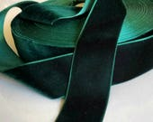 "Dark Green Velvet Ribbon for Bows, Floral, and Millinery 1.5"" Wholesale Velvet Ribbon 25 Yards"