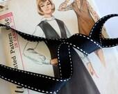 "Black Saddle Stitch Ribbon, Black and White Grosgrain Ribbon,  5/8"" inch"