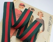 Red and Green Striped Ribbon, Classic Christmas Ribbon, Red Green Grosgrain Designer Ribbon 7/8""